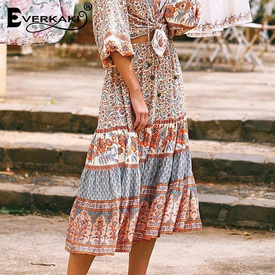 Gypsy Floral Print Skirt