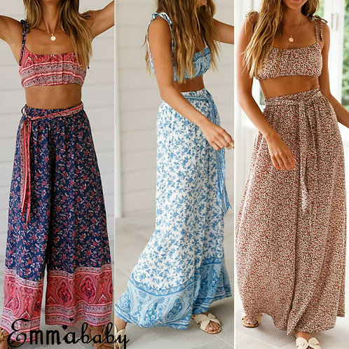 Boho Wide Leg Casual Pants