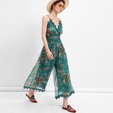Green Floral Print Chiffon Jumpsuit