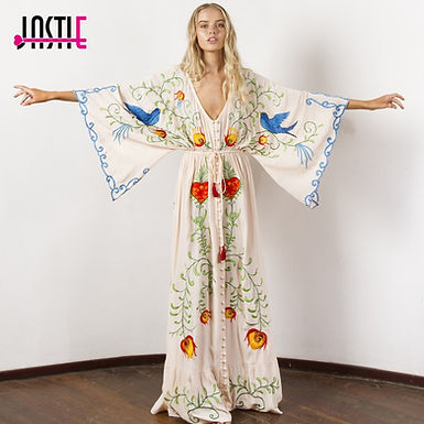 Embroidered Maxi Dress V-Neck Batwing Sleeve