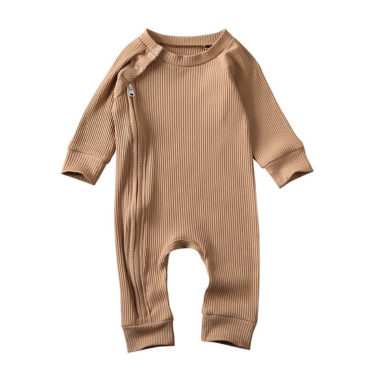 Infant Long Sleeve Zipped Ribbed Jumpsuit