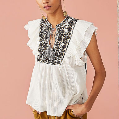 Butterfly Sleeve Sequin Flower Embroidered White Top