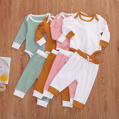 Ribbed Long Sleeve Romper + Long Pants Set Sizes 0-18months
