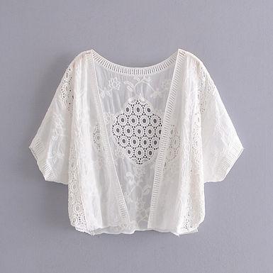 Embroidered Short Sleeve Shrug