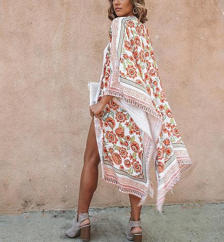 Floral Kimono Shawl (Plus Sizes Available)
