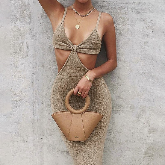 Knitted Ribbed Cut-Out Maxi Dress