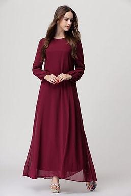 Belted Chiffon A-Line Maxi Dress