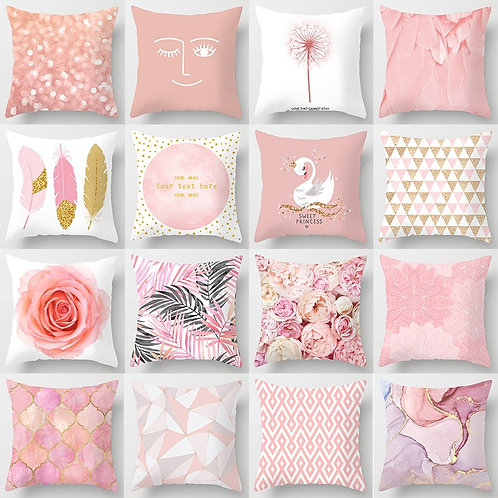 Pink Printed Cushion Covers