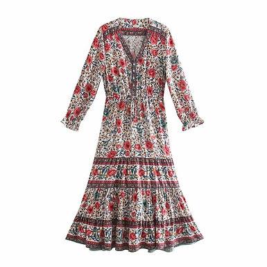 Floral Print Long Sleeve V-Neck Maxi Dress