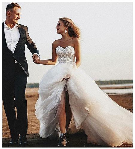 Lace Up Back White/Ivory Strapless Boho Wedding Gown