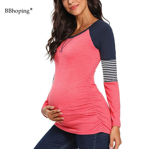 Maternity  Striped Color Block Long Sleeve Crew Neck Tee