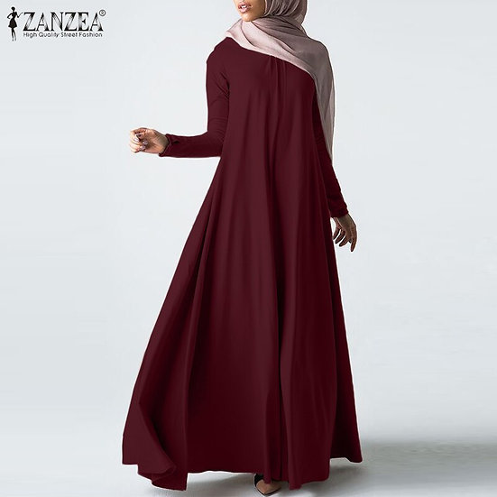 Long Sleeve Solid Maxi Sundress (Plus sizes available)