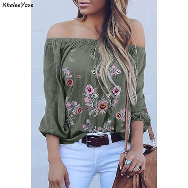 Embroidery Blouse Off the Shoulder