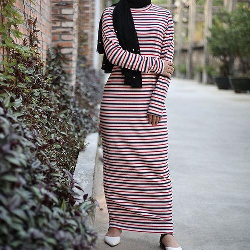 Striped long sleeve t-shirt maxi dress