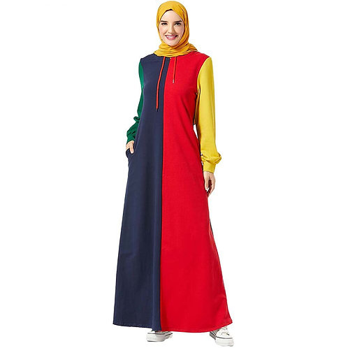 Multi Coloured Hooded Maxi Dress ( Plus Sizes Available)