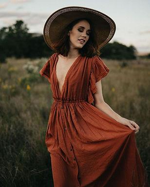 Deep v Neck Backless Ruffle Elastic Waist Long Dress