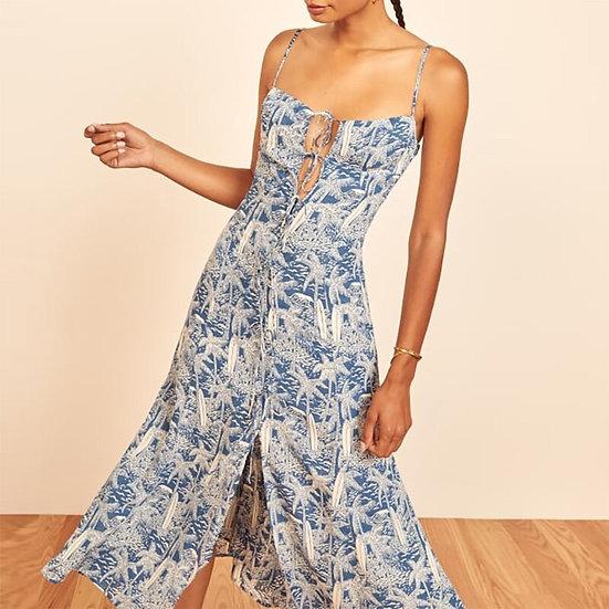 Blue Palm Tree Print Dress