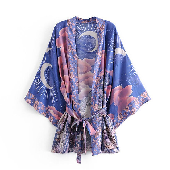 Blue Print Batwing Sleeve Short Kimono
