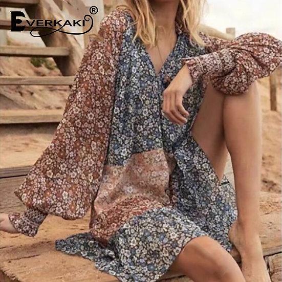 Patchwork Print Boho Midi Dress