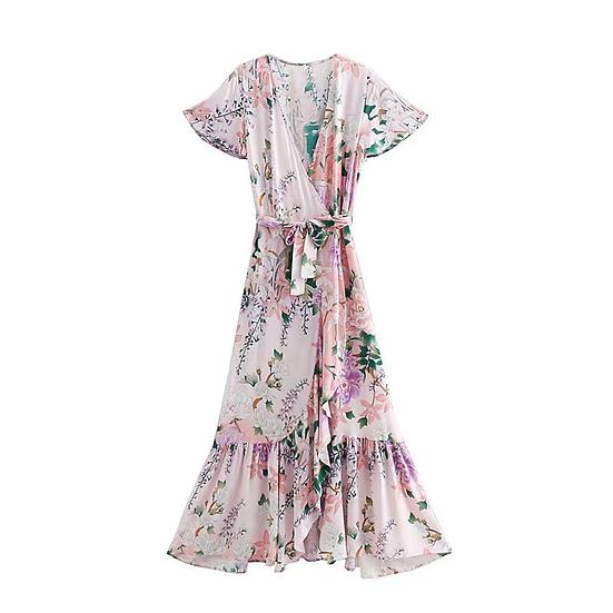 Pink Floral Print Bat Sleeve  Maxi Dress