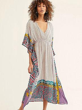 Geometric Print Vintage Maxi Dress