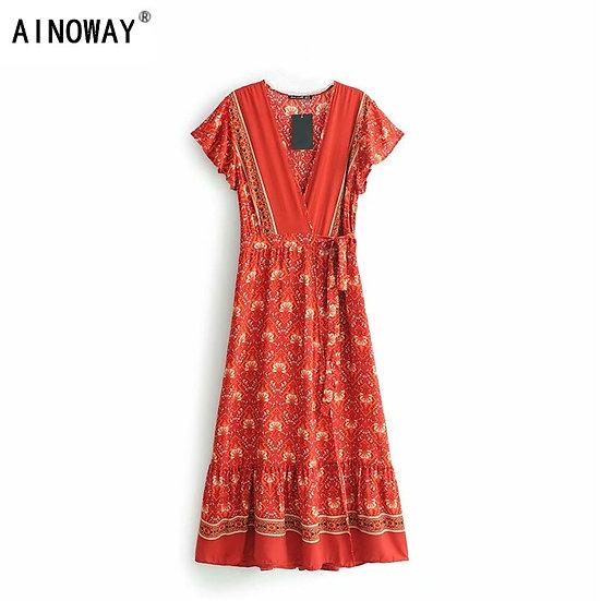 Red Floral Print Cross V-Neck Maxi Dress