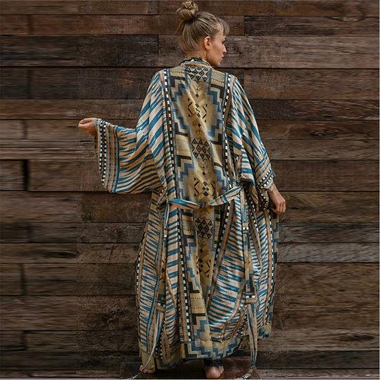 Ethnic Print Kimono Dress