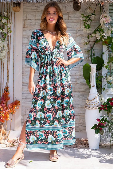 Floral  V-Neck Batwing Sleeve Maxi Dress