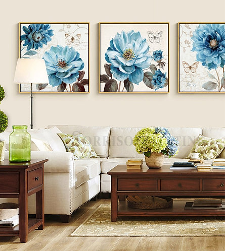 Blue Peony Flowers Wall Art  (framed or unframed)