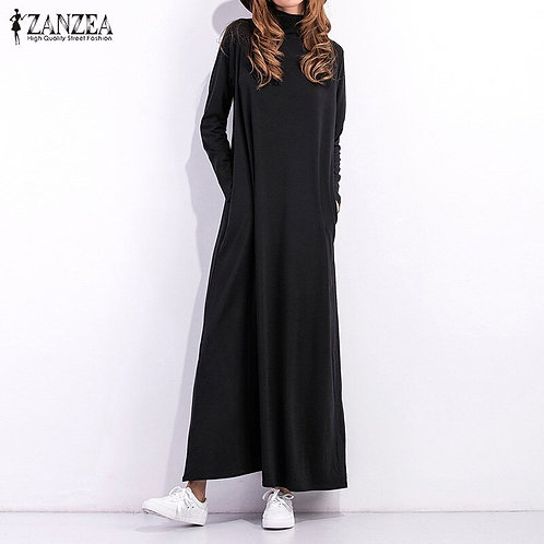 Long Sleeve Turtleneck Casual Maxi Dress With Pockets (Plus Sizes available)