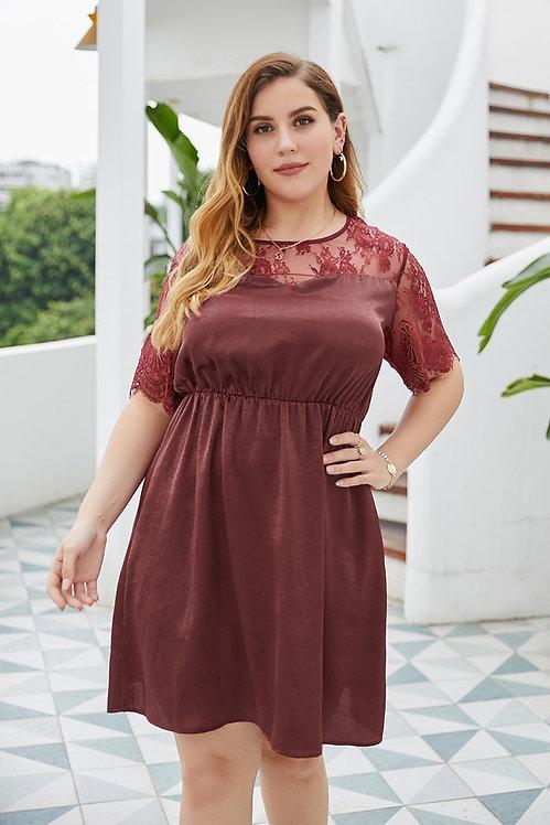 Plus Size Lace  A-Line Mini Dress