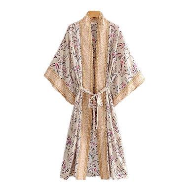 Boho Vintage Floral Batwing Sleeve Kimono