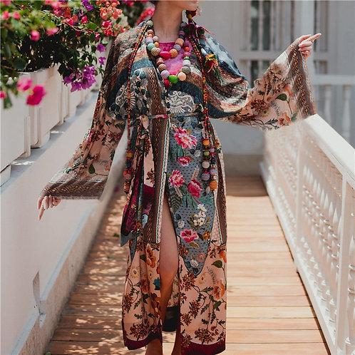 Bohemian Floral Printed Kimono