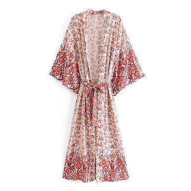 Boho Floral Print Bat Sleeve Kimono