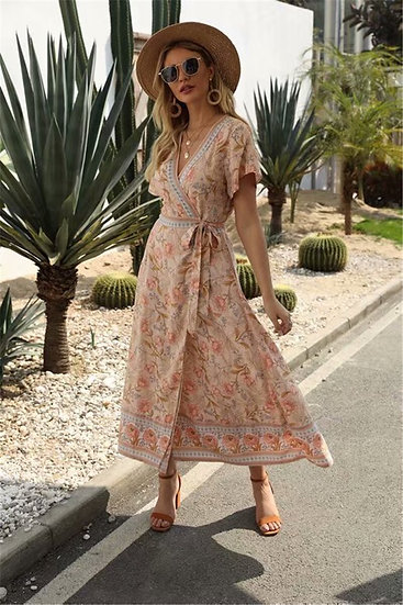 Vintage Chic Floral Print Cross V-Neck Maxi Dress