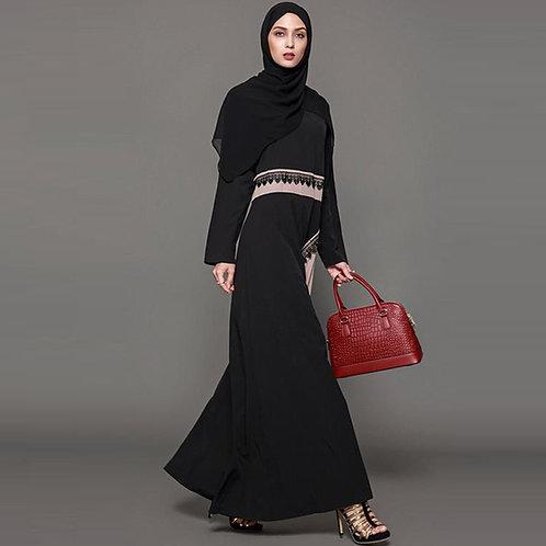 Black and Dusky Pink Maxi Dress