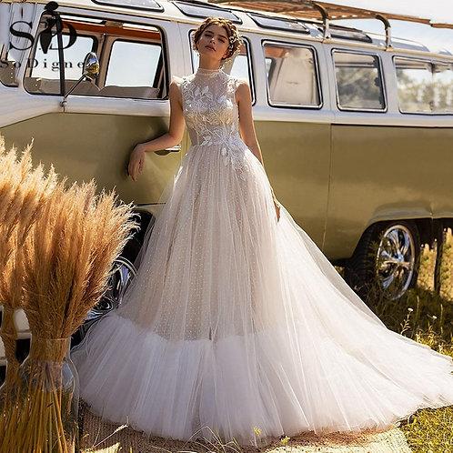 Boho Wedding  Lace Applique Tulle