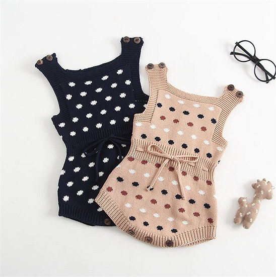 Knitted Polka Dot Drawstring Belt Romper Sizes 6 months - 3 Years