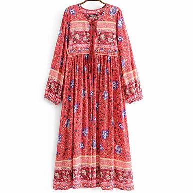 Boho Wild Floral Long Sleeve V-Neck Midi Dress