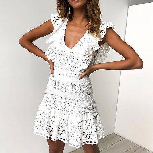 White Eyelet Ruffle Mini Dress
