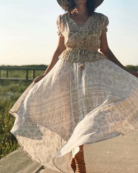 Women Desert Floral Printed Drawstring Elastic Waist Skirt
