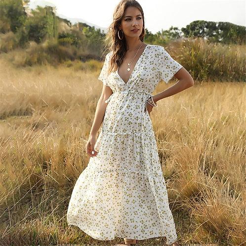 Floral Print Ruffle Short-Sleeve Dress