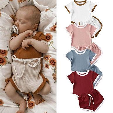 2Pcs Short Sleeve Bodysuit + Lace-Up Sizes  0-24m