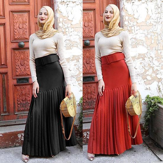 Pleated High Waist Skirt