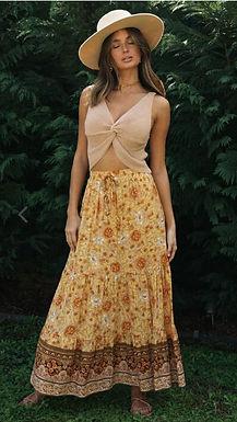 Bohemian Yellow Floral Print Skirt Elastic Waist