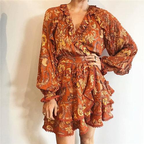 Floral Print  Butterfly Sleeve Mini Dress