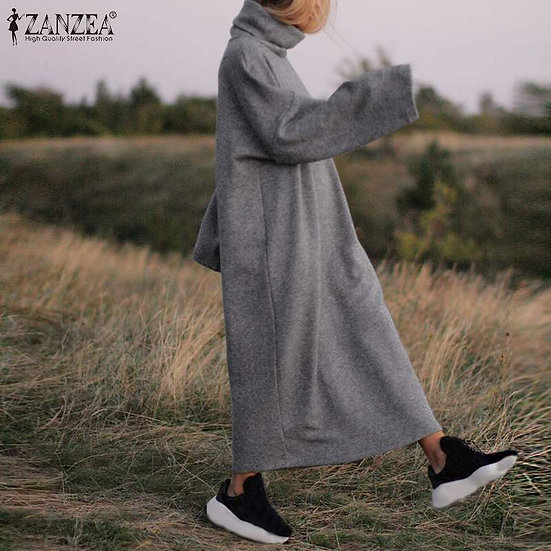 Long Maxi Dress Casual Turtleneck Pullover