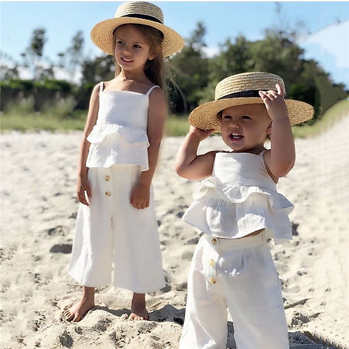 Boho Beach Ruffles Crop Top and Pants Sizes 6months - 4 years
