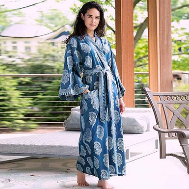 Blue Floral Print Cotton Kimono