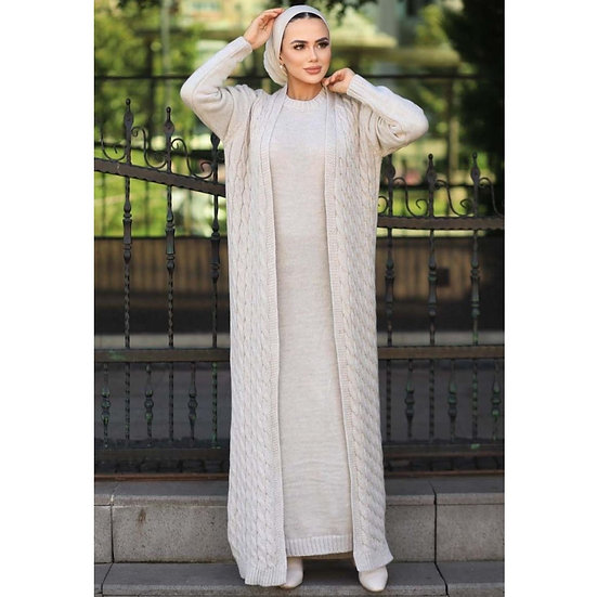 2 Pieces Hooded Women's Set, Maxi Dress and Cardigan